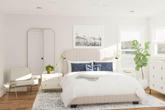 Đầu giường dựa sát vào tường