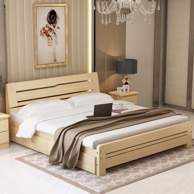 Giường có hộc kéo cho vợ chồng hiện đại