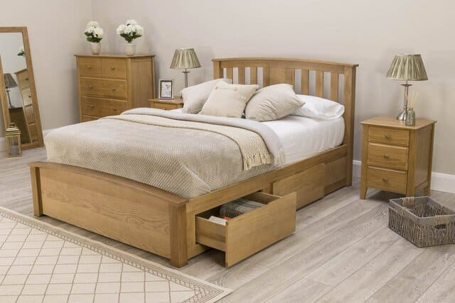 Giường ngủ có hộc kéo gỗ sồi