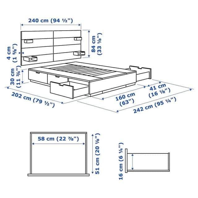 Kích thước giường hộc có ngăn kéo