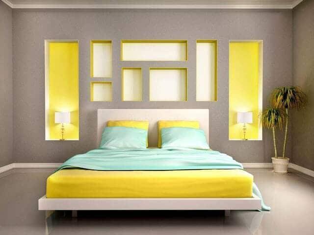 Một cách trang trí phòng ngủ màu vàng