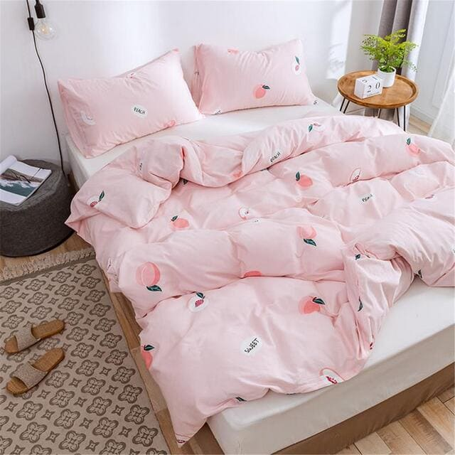 Bộ chăn ga gối cotton màu hồng dễ thương