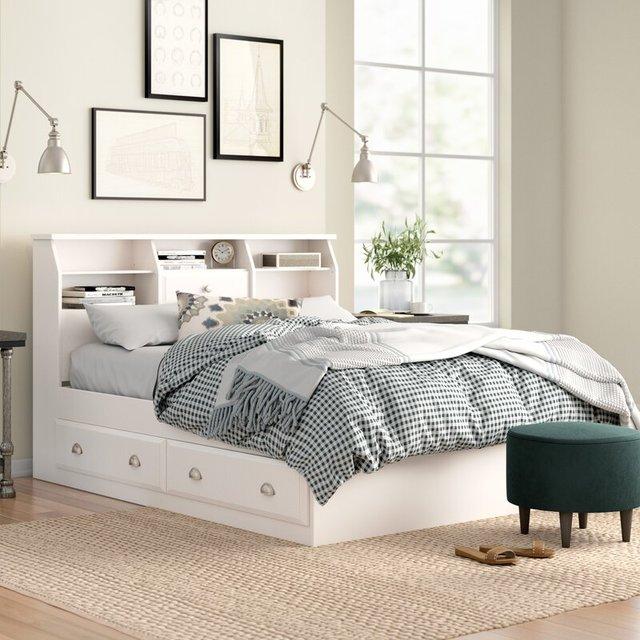 Giường hộp có ngăn kéo sơn trắng