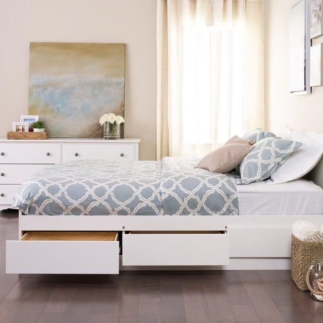 Giường ngủ có ngăn kéo sơn trắng
