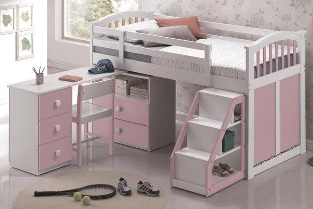 Giường ngủ kết hợp bàn học cho bé gái