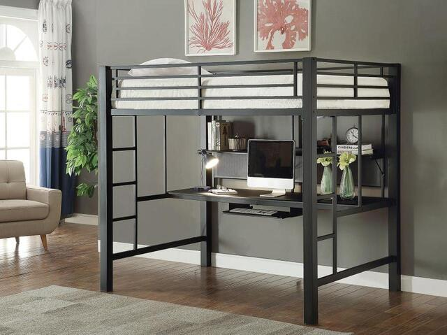 Giường tầng kết hợp với bàn học bằng sắt