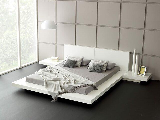 Giường ngủ sơn trắng kiểu Nhật