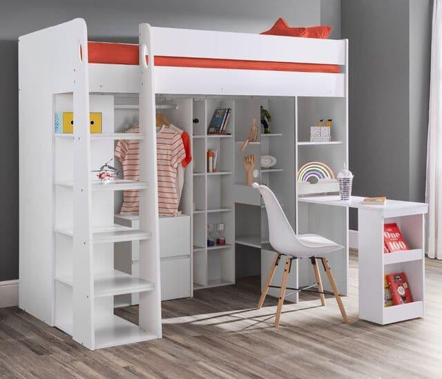 Giường tầng kết hợp với bàn học và tủ quần áo