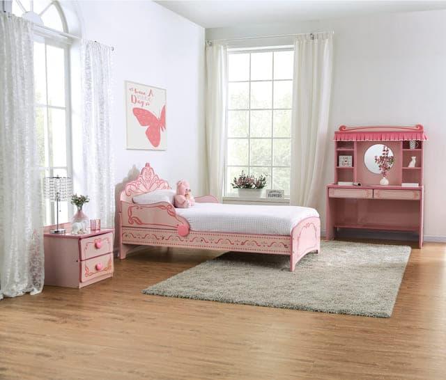 Mẫu giường ngủ công chúa gỗ sơn hồng